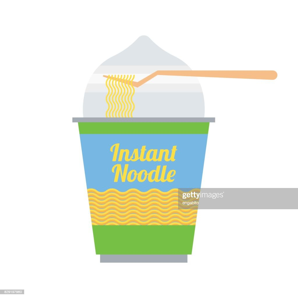 instant noodles in cup packaging ready to eat. vector illustration