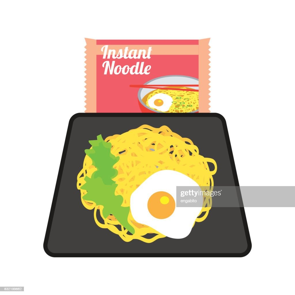 instant noodles on a plate with fried egg and sachet. vector illustration