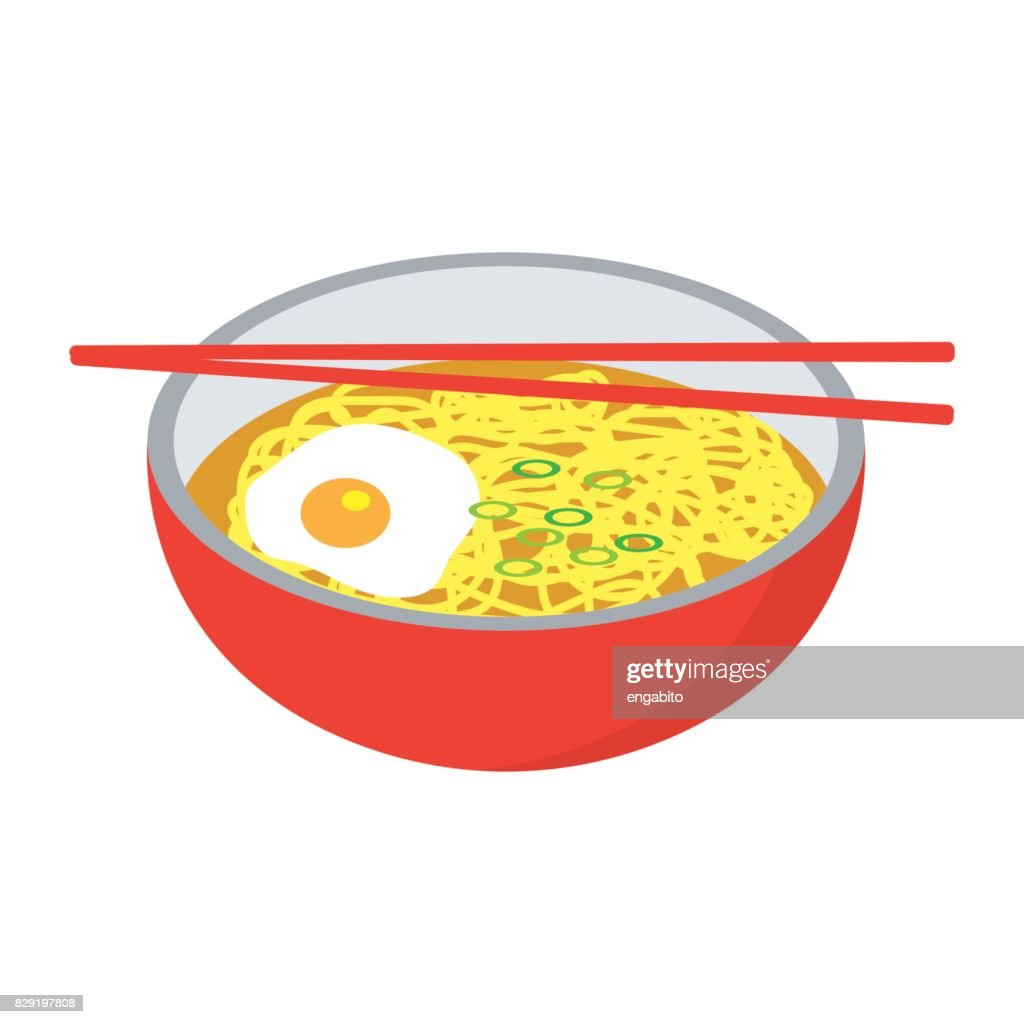 instant noodles soup and a boiled egg in a red bowl with chopstick. vector illustration