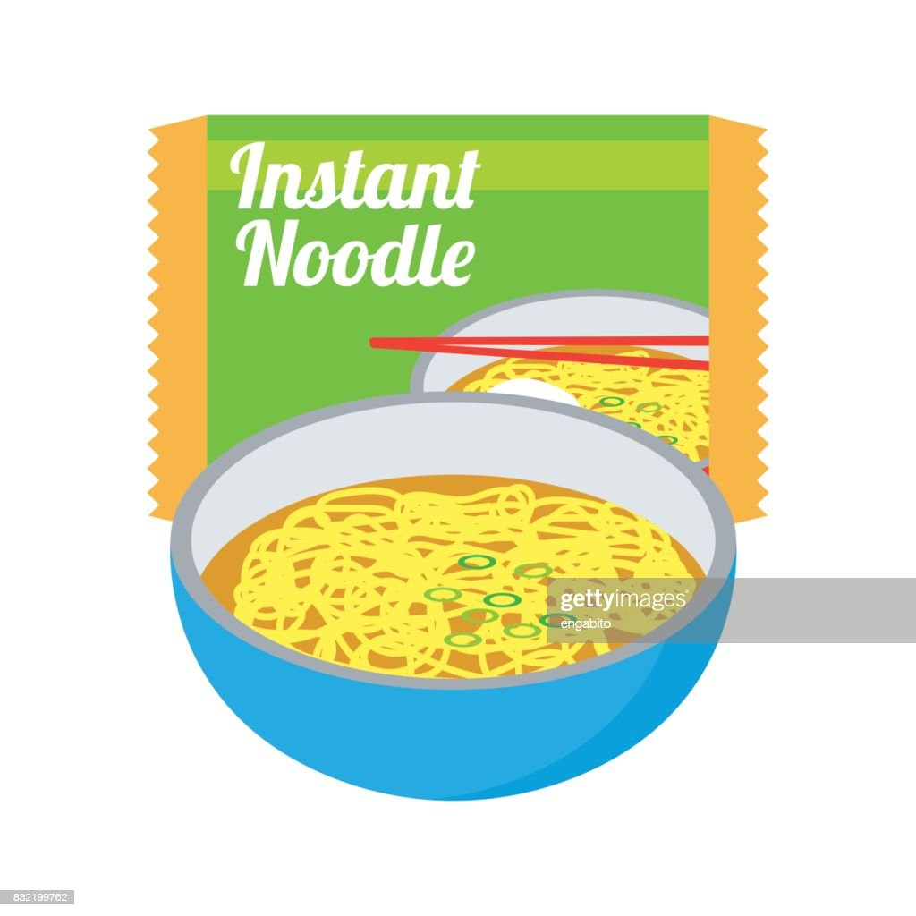 instant noodles soup and in a blue bowl with sachet. vector illustration