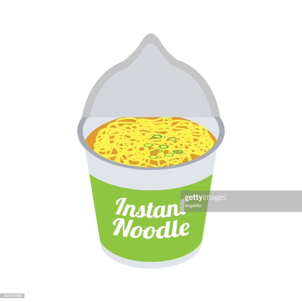 instant noodles soup in cup packaging ready to eat. vector illustration