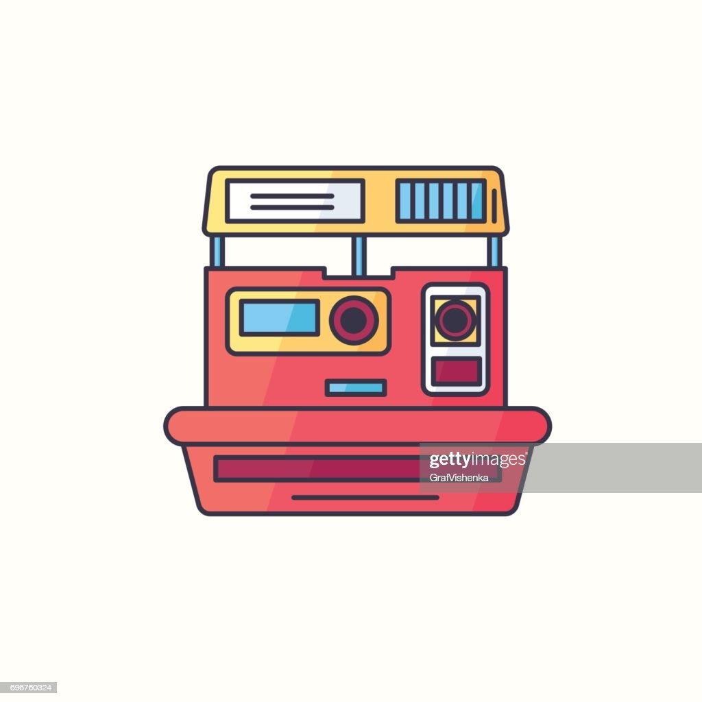 Instant print photo camera vector flat linear icon. Hipster device symbol in bright trendy colors. Old electronic gadget from 90s. Vintage tech from nineties isolated on background.