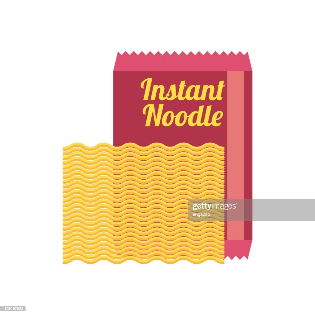 instant raw noodles in packaging. vector illustration