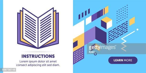 instruction banner - instructions stock illustrations