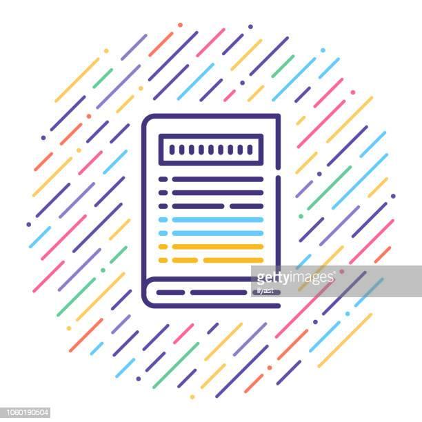 命令ハンドブック ライン アイコン イラスト - 辞書点のイラスト素材/クリップアート素材/マンガ素材/アイコン素材