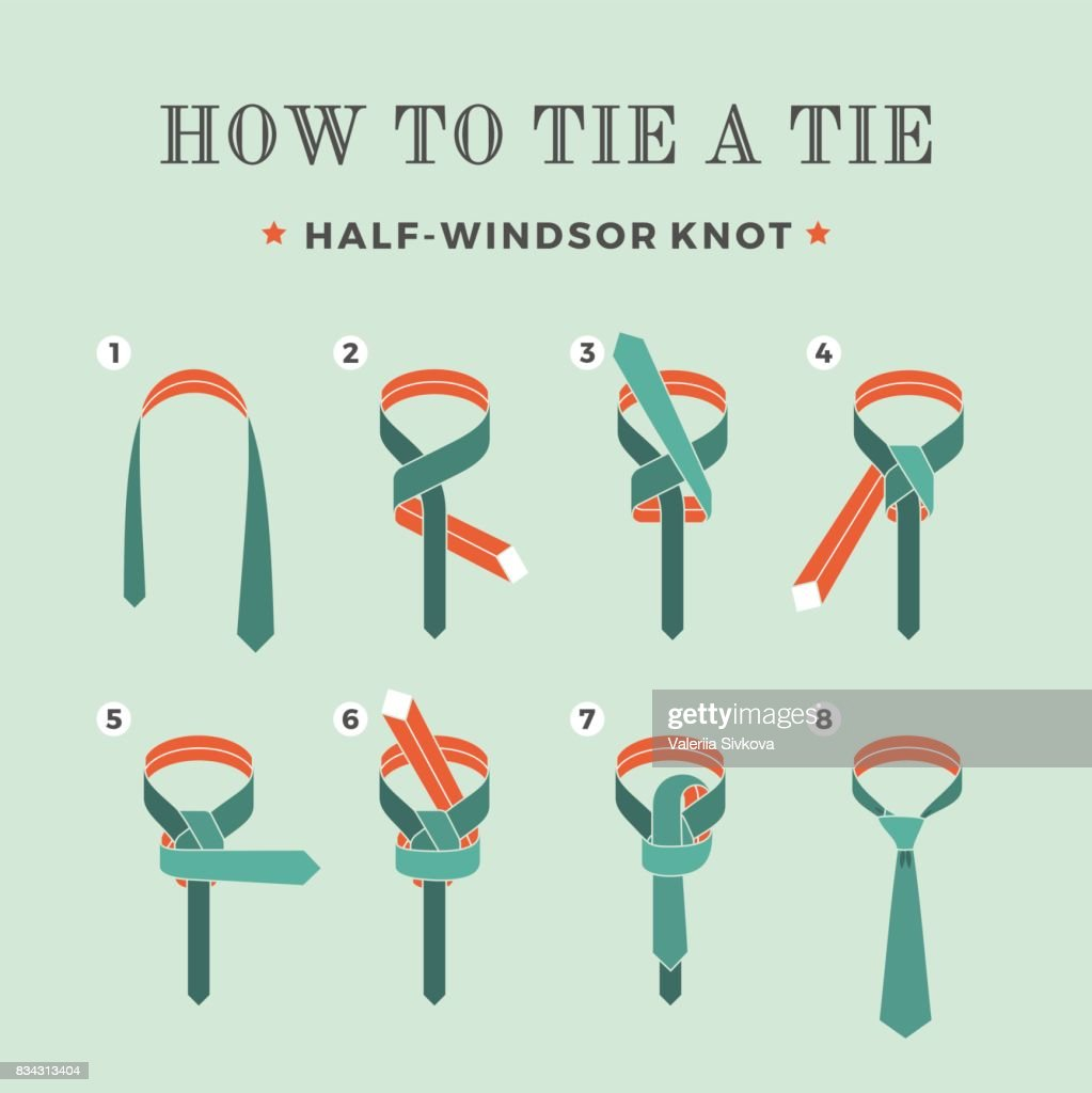 Instructions on how to tie a tie on the turquoise background of the eight steps. Half-Windsor knot . Vector Illustration.