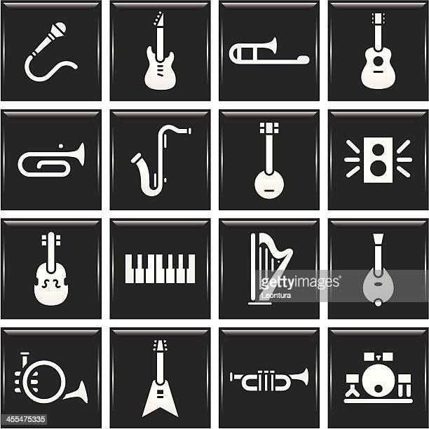 instrument icons - bass instrument stock illustrations, clip art, cartoons, & icons