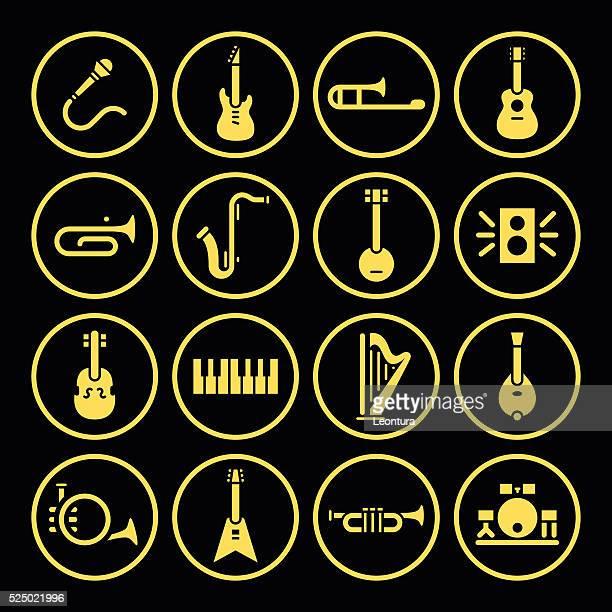 instrument icons - drum percussion instrument stock illustrations, clip art, cartoons, & icons