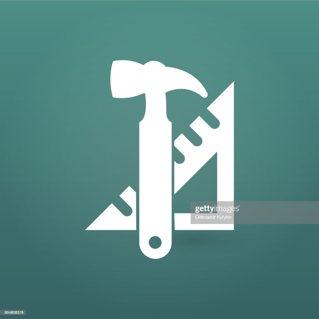 Instruments icon. hummer and triangle ruler. Tools icon. Work. Vector illustration isolated on modern background.