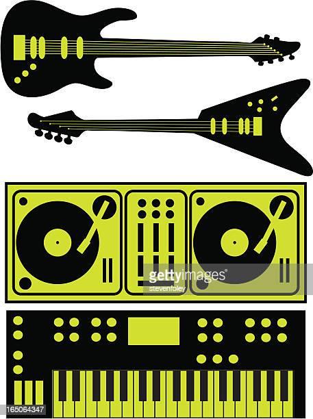 ilustraciones, imágenes clip art, dibujos animados e iconos de stock de instrumentos de la música guitars teclados platos giratorios - bajo eléctrico