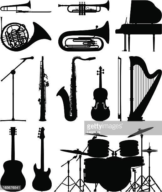 instruments - classical stock illustrations