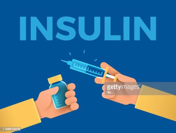 insulin shot diabetes medication - diabetes stock illustrations