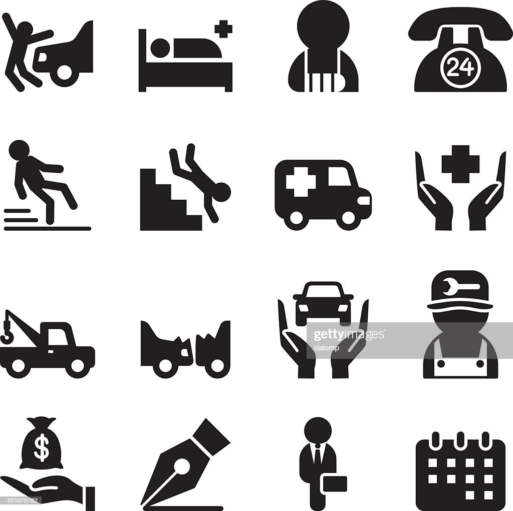 Insurance & accident  icons set