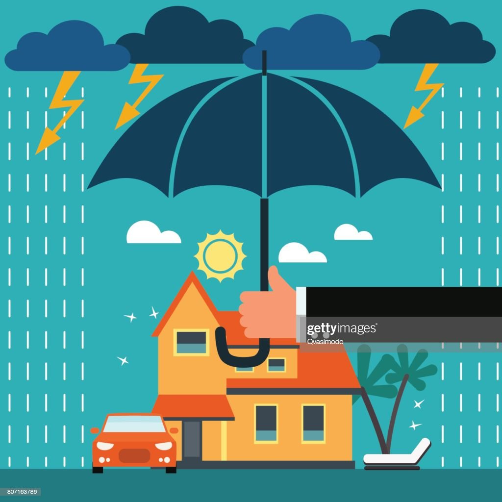 Insurance agent with umbrella under thunderstorm protecting house and car
