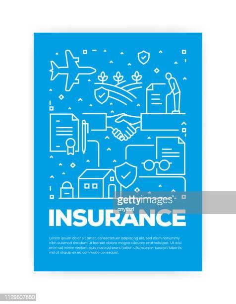 versicherungskonzept line style cover-design für jährliche bericht, flyer, broschüre. - zwischenbericht stock-grafiken, -clipart, -cartoons und -symbole