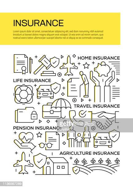 versicherung concept line style cover design für geschäftsbericht, flyer, broschüre. - zwischenbericht stock-grafiken, -clipart, -cartoons und -symbole
