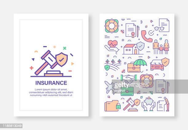 versicherungskonzept line style cover design für geschäftsbericht, flyer, broschüre. - zwischenbericht stock-grafiken, -clipart, -cartoons und -symbole
