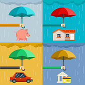 Insurance concept, security of property in flat style