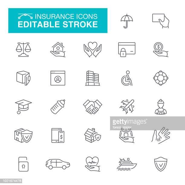 editierbare sparte icons - versicherung stock-grafiken, -clipart, -cartoons und -symbole