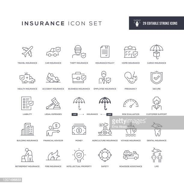 insurance editable stroke line icons - stealing stock illustrations