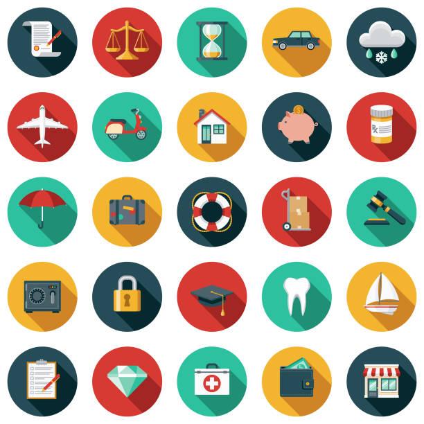 保險平面設計圖示集 - 彩色影像 幅插畫檔、美工圖案、卡通及圖標