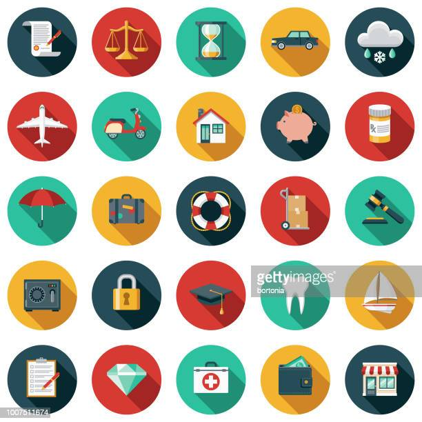 illustrations, cliparts, dessins animés et icônes de assurance-design plat icon set - image en couleur