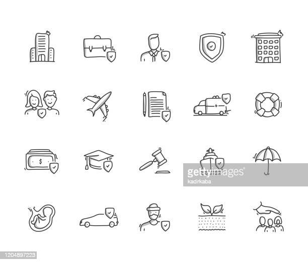 insurance hand draw line icon set - defending stock illustrations