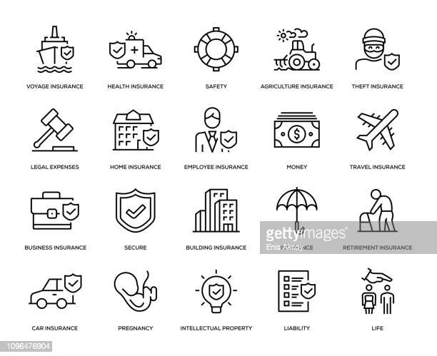 insurance icon set - employee stock illustrations