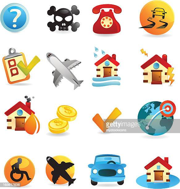 insurance icon set - power outage stock illustrations, clip art, cartoons, & icons