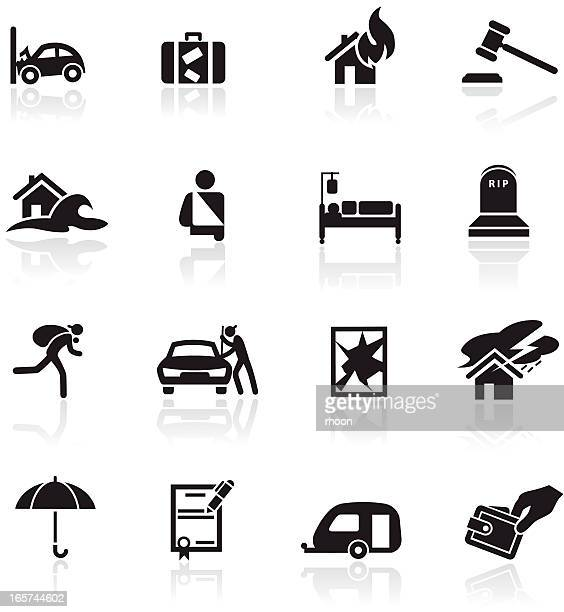 insurance icon set - burglar stock illustrations
