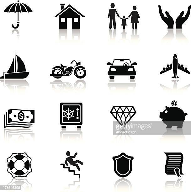 insurance icon set - misfortune stock illustrations, clip art, cartoons, & icons