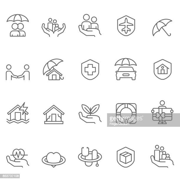 insurance icon set - safe stock illustrations