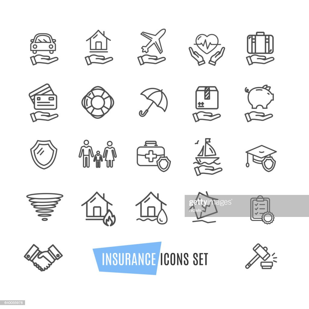 Insurance Icon Thin Line Set. Vector