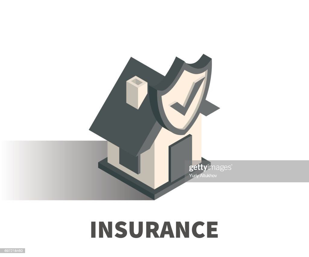 Insurance icon, vector symbol in isometric 3D style isolated on white background.
