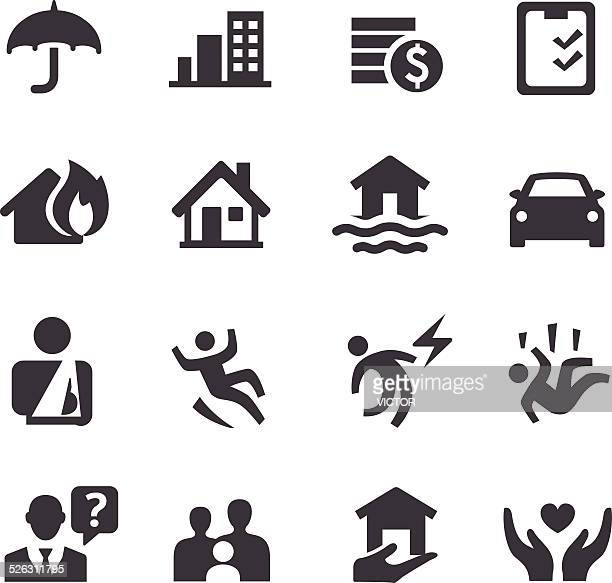 insurance icons - acme series - misfortune stock illustrations, clip art, cartoons, & icons