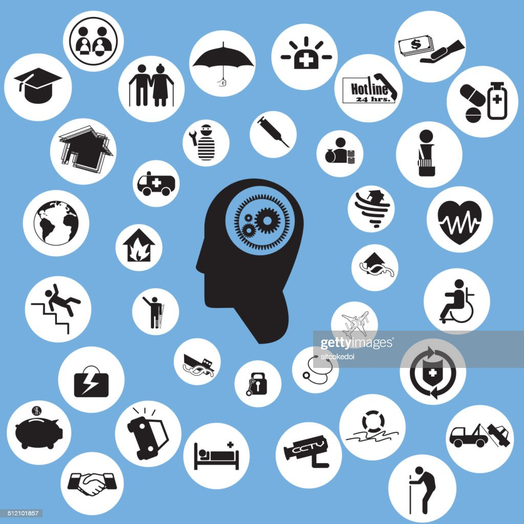 insurance icons and thinkking man