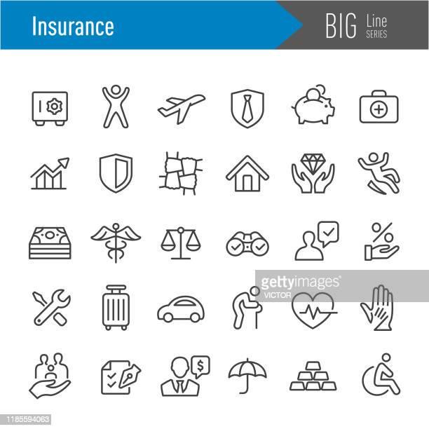 versicherungssymbole - big line serie - versicherung stock-grafiken, -clipart, -cartoons und -symbole