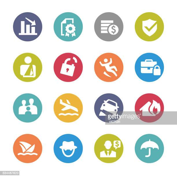 insurance icons - circle series - misfortune stock illustrations, clip art, cartoons, & icons