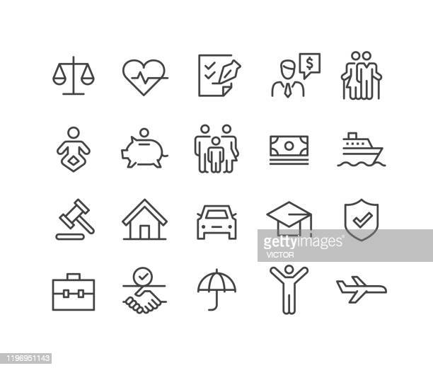 insurance icons - classic line series - commercial real estate stock illustrations