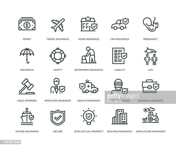 insurance icons - line series - travel stock illustrations