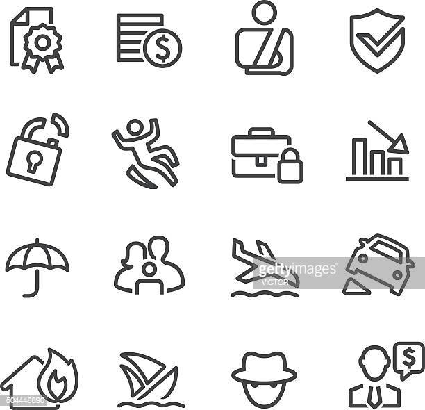 insurance icons - line series - misfortune stock illustrations, clip art, cartoons, & icons