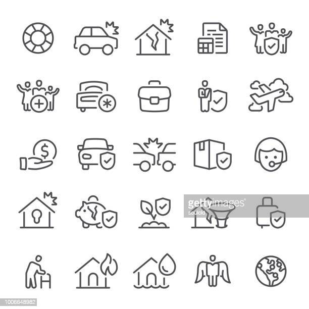 insurance icons - misfortune stock illustrations, clip art, cartoons, & icons