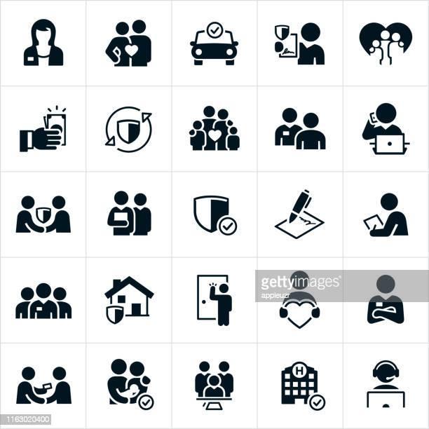 insurance icons - insurance stock illustrations