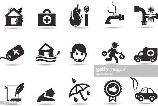 insurance icons - damaged stock illustrations