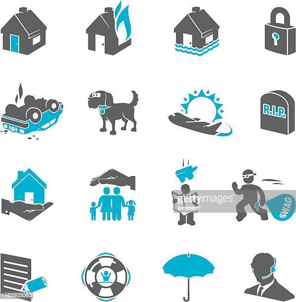 illustrations, cliparts, dessins animés et icônes de icônes d'assurance - bicolore
