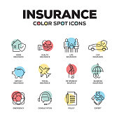 Insurance icons. Vector line icons set. Premium quality. Modern outline symbols and pictograms.