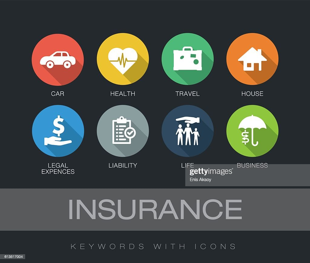 Insurance keywords with icons : Stock Illustration