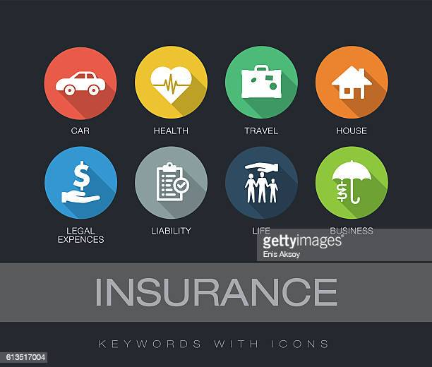 insurance keywords with icons - long shadow shadow stock illustrations