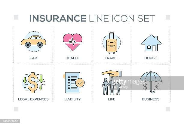 Insurance keywords with line icons