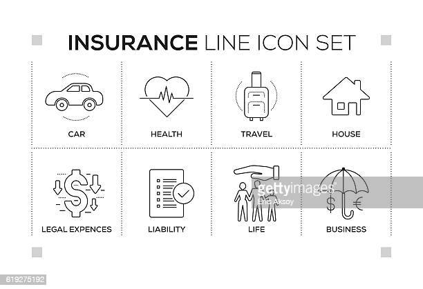 Insurance keywords with monochrome line icons